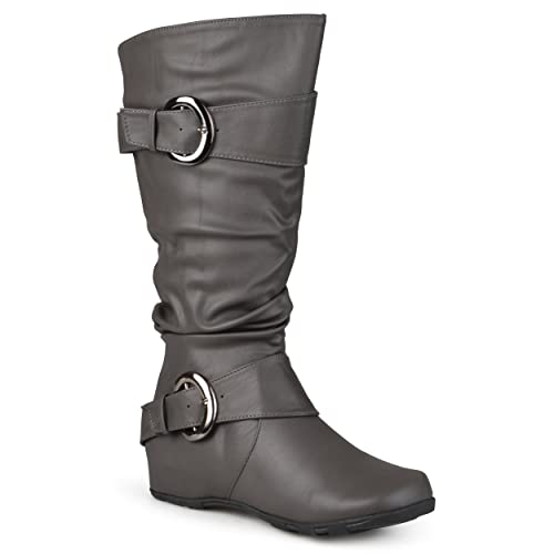 7cd2db3b24c78 Journee Collection Womens Extra Wide Calf Slouch Buckle Knee High Boots