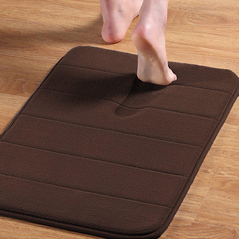 Norcho Memory Foam Mat Ultra Soft Anti-Fatigue 35D Bathroom Rubber Back Anti-slip Runner,Brown 23'' x 17''