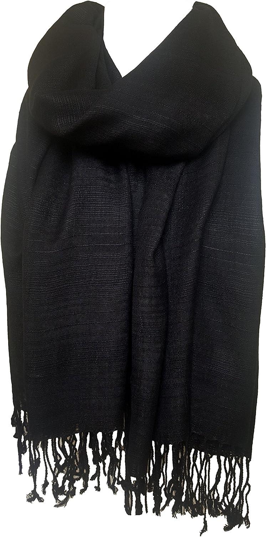 Black Pashmina Scarf 100/% Viscose Plain Wrap Shawl Stole Scarf High Quality