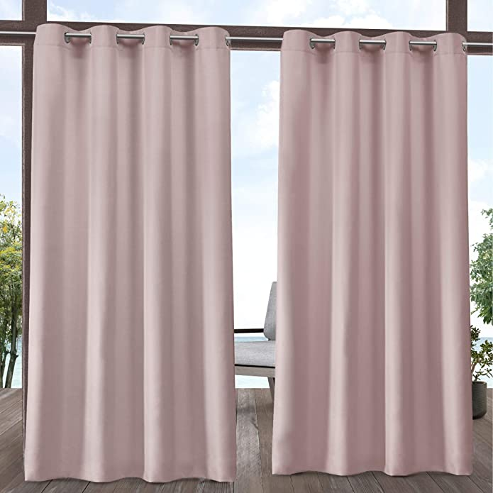 """Set of 2 84""""x54"""" Outdoor Solid Cabana Grommet Top Light Filtering Curtain Panel Blush - Exclusive Home"""