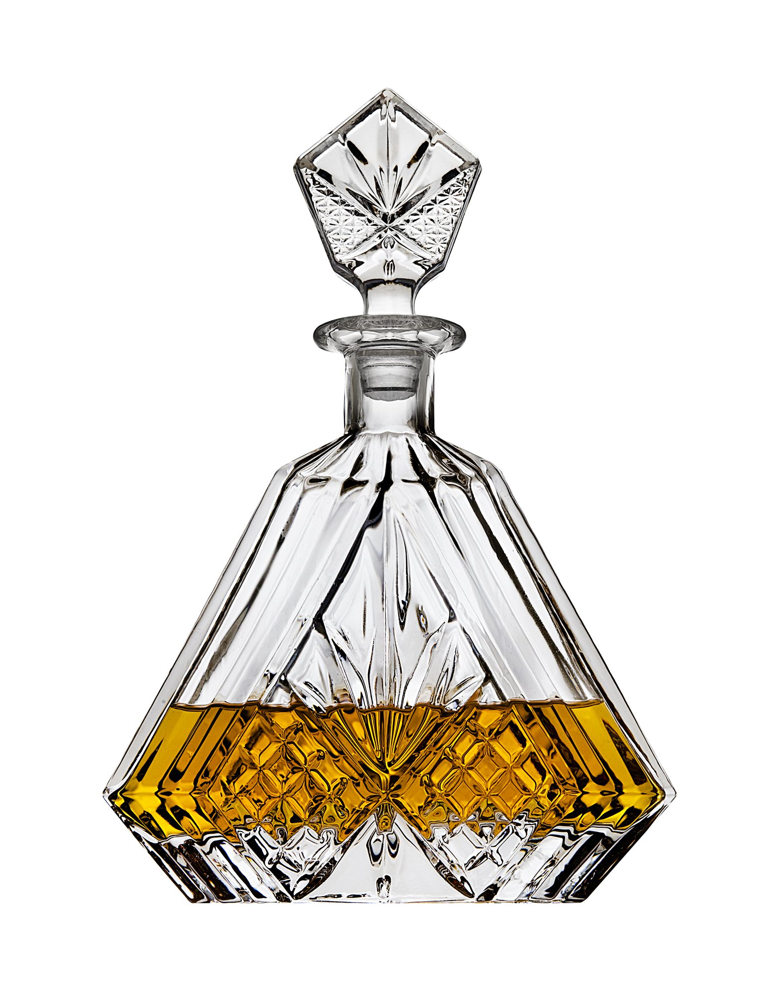 Whiskey Decanter Set with 2 Old Fashioned Whisky Glasses for Liquor Scotch Bourbon or Wine – Irish Cut Triangular