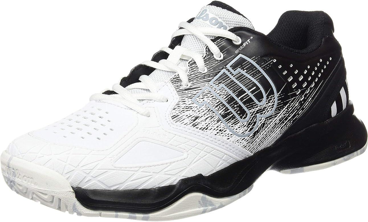 Wilson KAOS COMP, Zapatillas de tenis hombre, juego ofensivo, todos los terrenos, tejido/sintético, negro/blanco(Black/White/Pearl Blue), talla: 41 1/3: Amazon.es: Zapatos y complementos