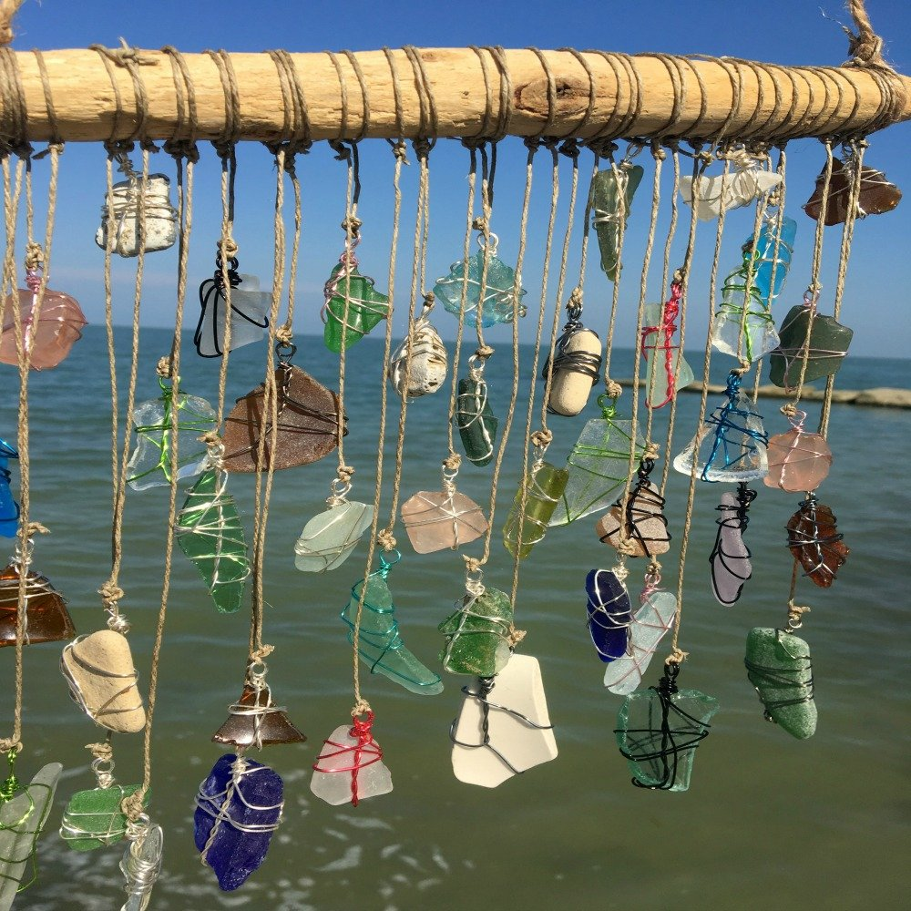 BohoBeach Glass Sun Catcher Eco Friendly Art Whimsical Driftwood Beach Wedding Swap Party Gift by Pier Beach Glass (Image #4)