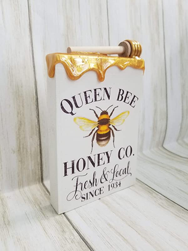 Queen Bee Honey Drip Glitter rolling tray display tray honeycomb rustic bee decor crackle paint epoxy tray gold glitter bathroom tray makeup