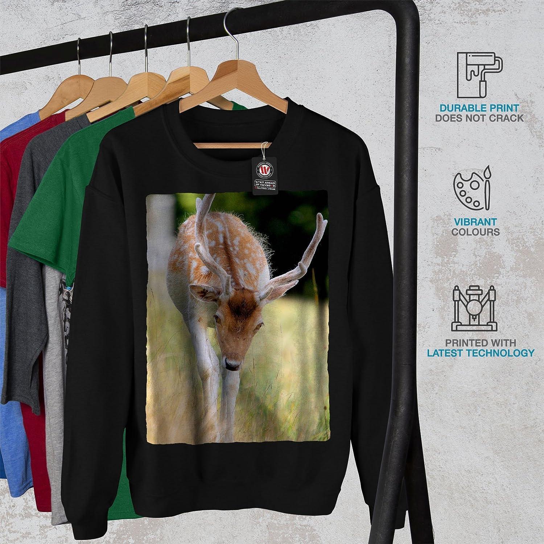 Young Casual Jumper wellcoda Deer Wild Cute Animal Mens Sweatshirt