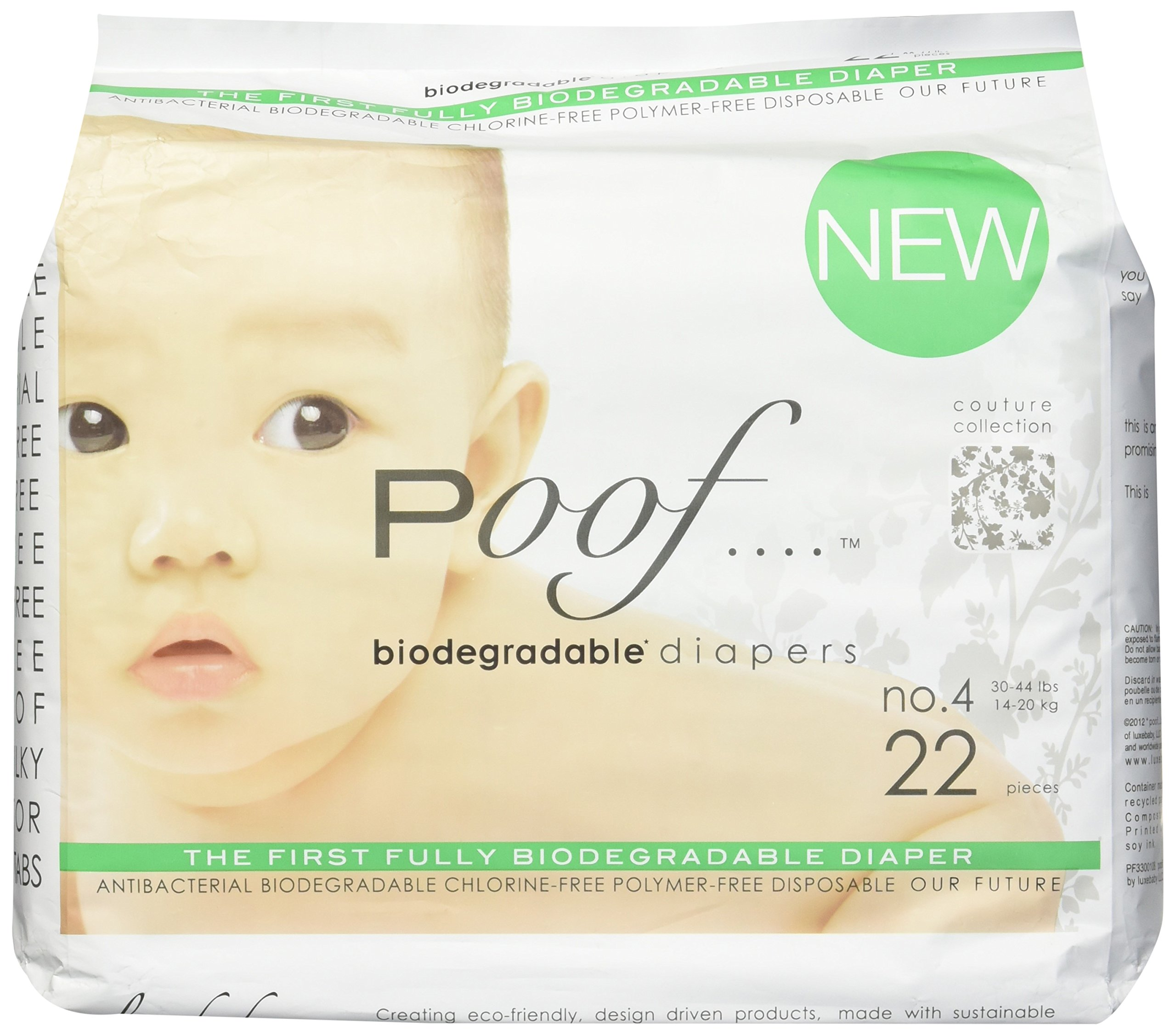 poof PF3300101 Biodegradable Antibacterial Disposable Diapers, 33 Count