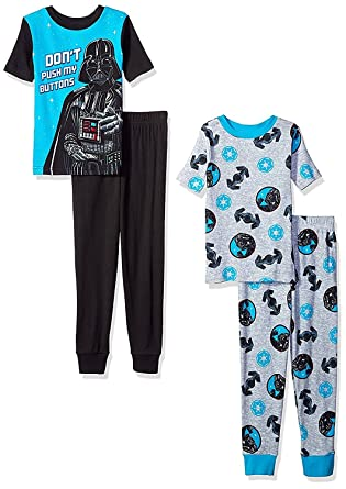15f77a3835 Amazon.com  Star Wars Little Boys 4 Piece Cotton Pajamas Set Chewbacca  Stormtrooper Darth Vader  Clothing