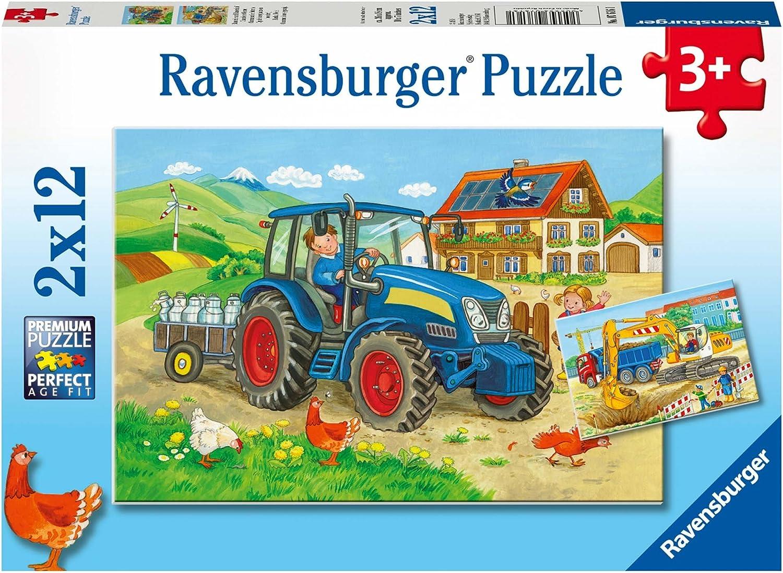 Ravensburger Kinderpuzzle Baustelle und Bauernhof ab 3 Jahren