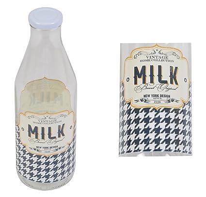 Botella de leche 1 Litro Retro MILK tapa Metálica Leche botella de Vidrio Vintage Botella