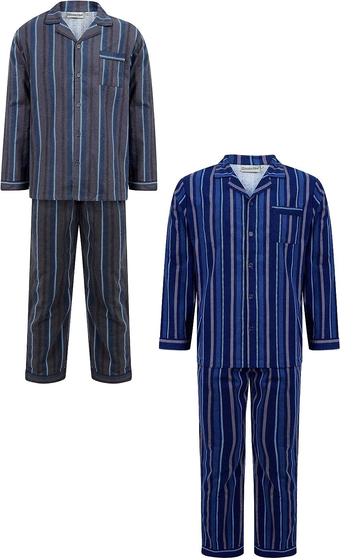 Winceyette Walker Reid Chemise de Nuit en Coton Flanelle pour Hommes /à col Montant et /à Manches Longues Taille Petit /à XXXXL