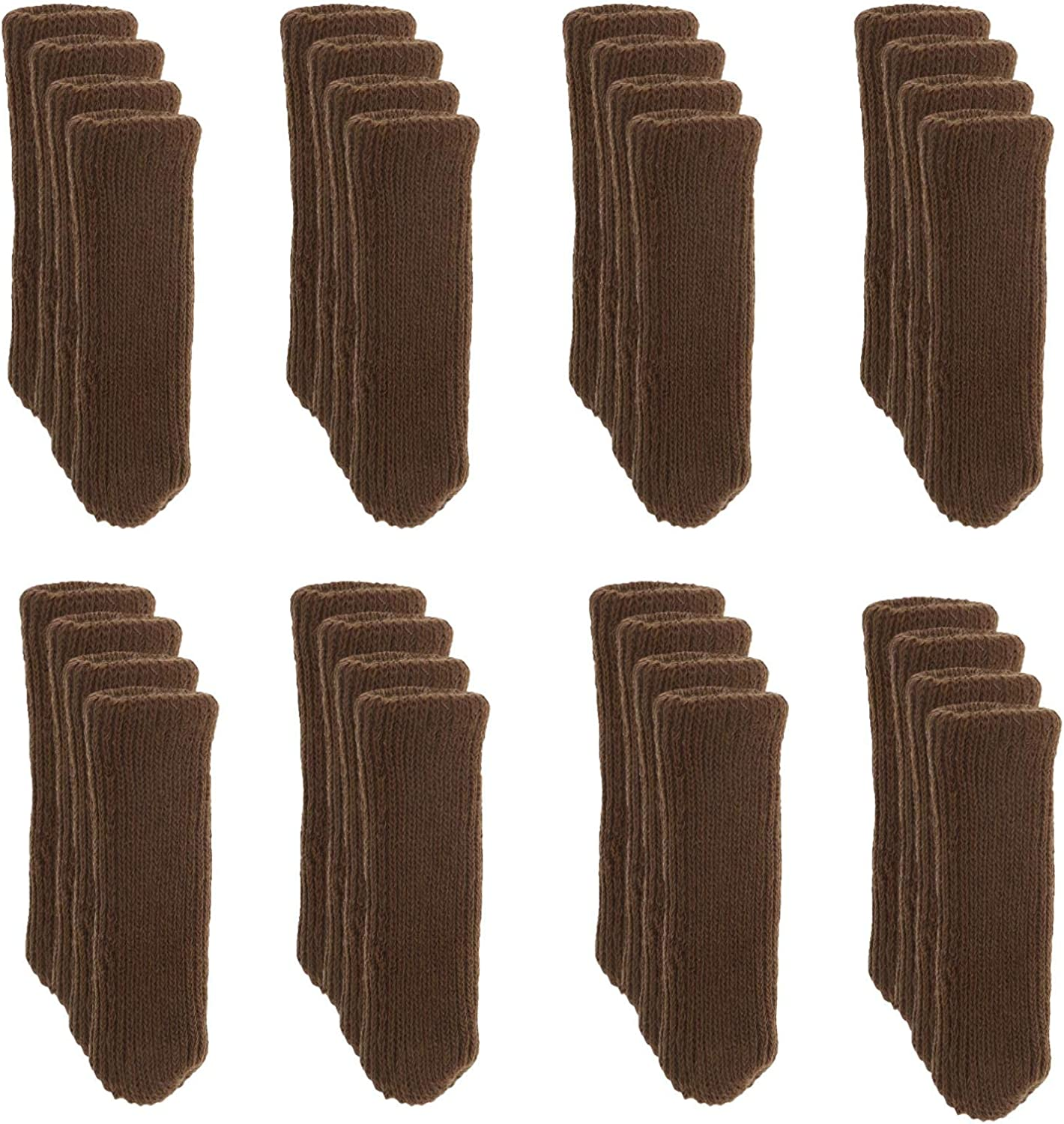 Creative-Idea 32Pcs Furniture Table Chair Leg Socks Covers Caps Set Floor Protectors Reduce Noise Double Thickness Knitted High Elastic Non-Slip Fit 1.8 to 3 Inches Brown