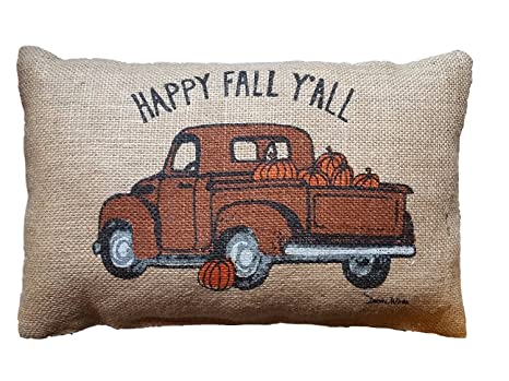 Amazon.com: hlppc Happy Fall y all Truck – Almohada de 12 x ...