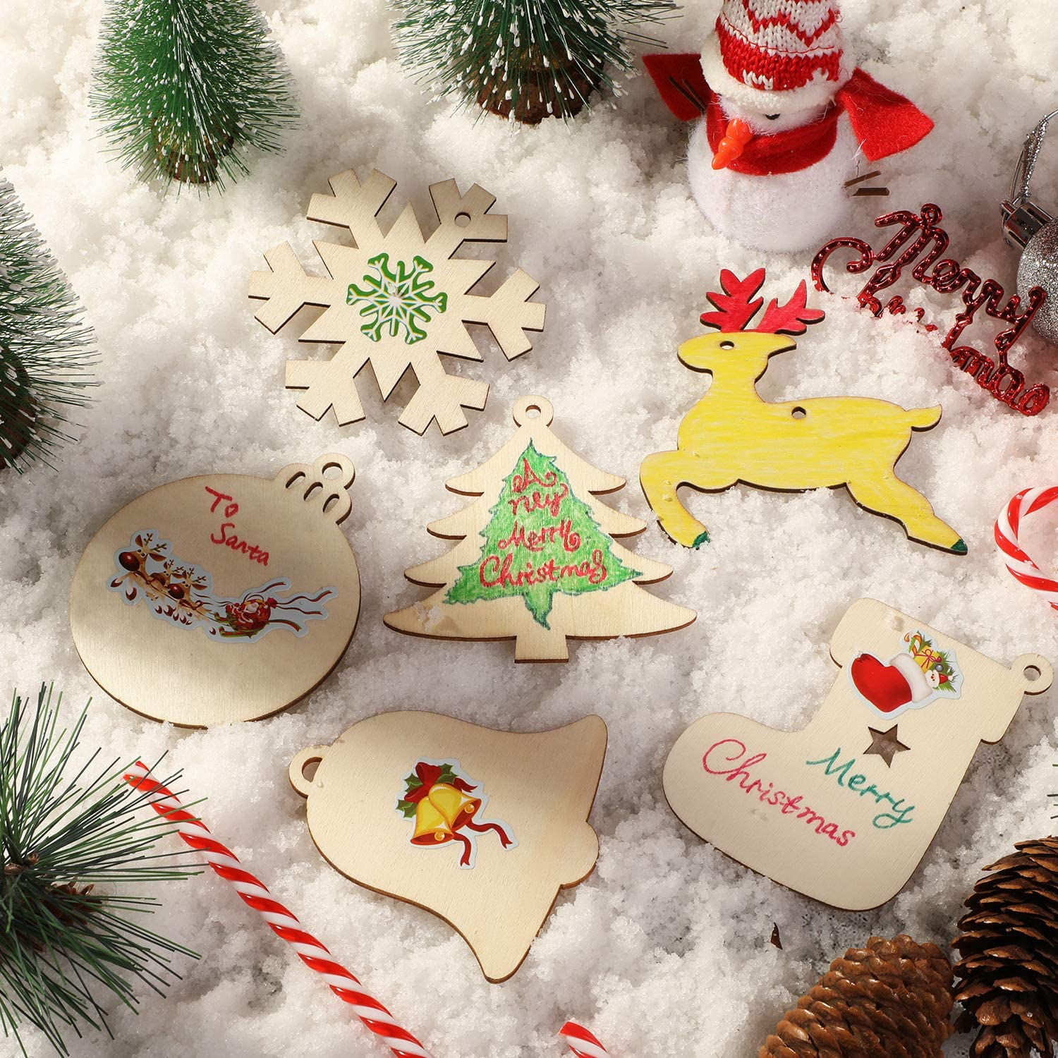 8x Christmas Wooden Angel Stickers Embellishments Craft