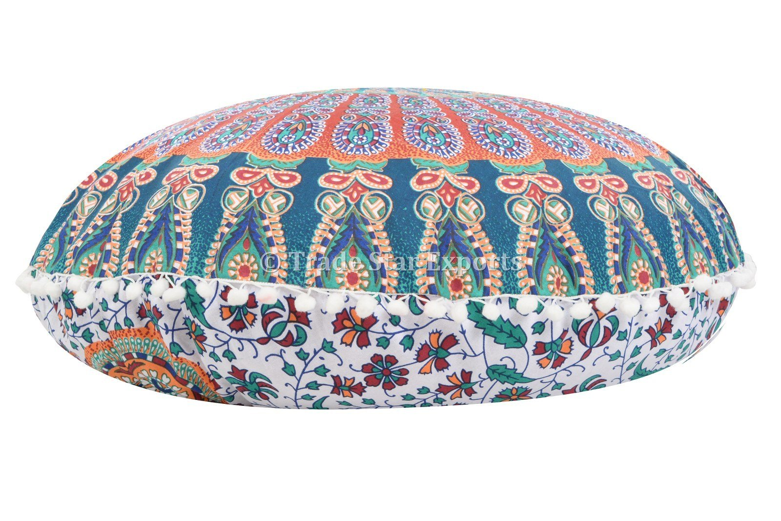 Large 32'' Round Pillow Cover, Decorative Mandala Pillow Sham, Indian Bohemian Ottoman Poufs, Pom Pom Pillow Cases, Outdoor Cushion Cover (Pattern 6)