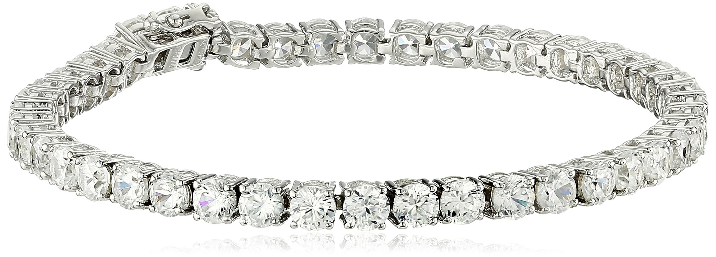 Sterling Silver Natural White Zircon Round Tennis Bracelet, 7.25''