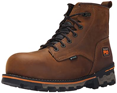 Timberland PRO Men's 6 inch Boondock Comp Toe Waterproof Work Boot, Brown  Distressed Leather,