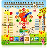 Educational Toys for 3 Year Old, Learning Clock for Kids, All About Today Board, Teaching Time Monthly Calendar, Wooden…
