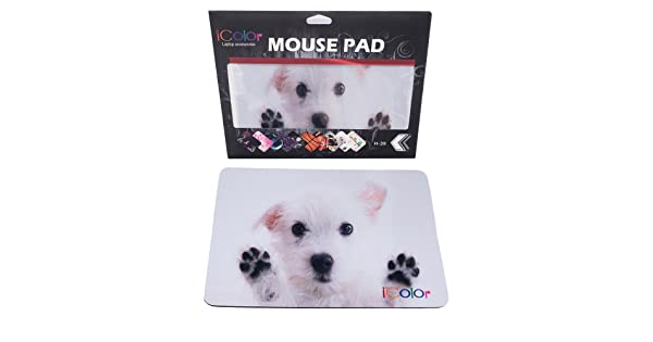 6113b34c6df76 iColor White Dog Print Anti-Slip Waterproof Optical Mouse MousePad Mouse  Mat Mousepad MP-071