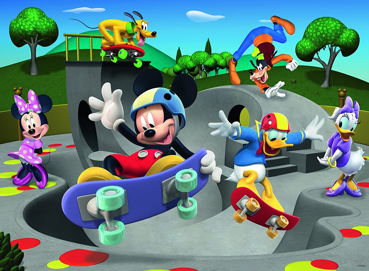 Ravensburger Mickey & Minnie: At The Skate Park 100 Piece Jigsaw Puzzle for Kids – Every Piece is Unique, Pieces Fit Together Perfectly