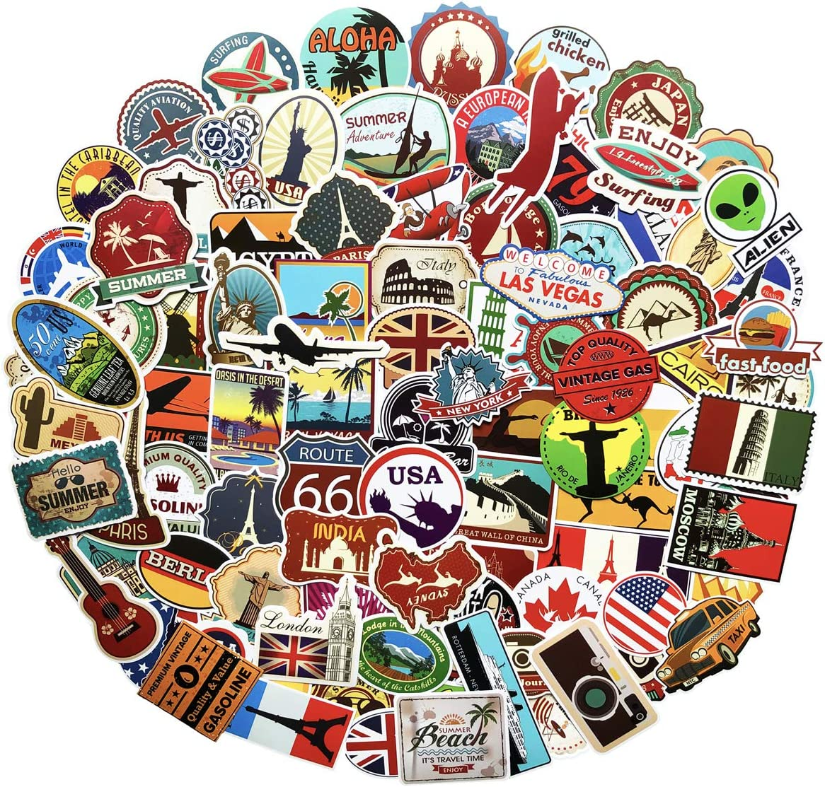 100PCS World Travel Maps Airplane Air and Famous Buildings Signs Stickers Waterproof Laptop Stickers Car Bicycle Suitcase Computer Water Bottle Mobile Phone Stickers Decals (Travel Maps 100)