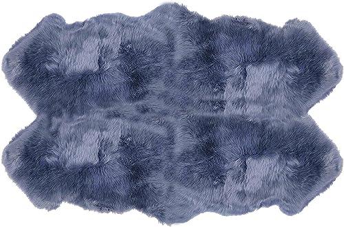 Genuine Sheepskin Rug Real Sheepskin Silky Long Wool Carpet for Living Room Bedroom Children Play Dormitory Home Decor Rug Quarto 4ftx6ft Bkue-Grey