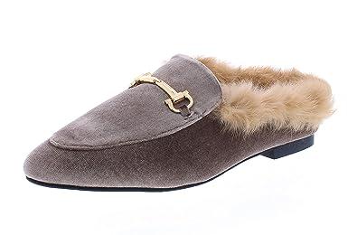 ba4f32fcef27 Hot Kiss Rozie Womens Horsebit Faux Suede Loafers Mules Shoes