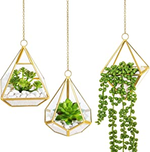 Mkono Artificial Succulent Plants with Hanging Glass Geometric Terrarium, Set of 3 Mini Vertical Miniature Potted Fake Plant for Home Office Decor Dorm Wedding Gift Idea, Gold