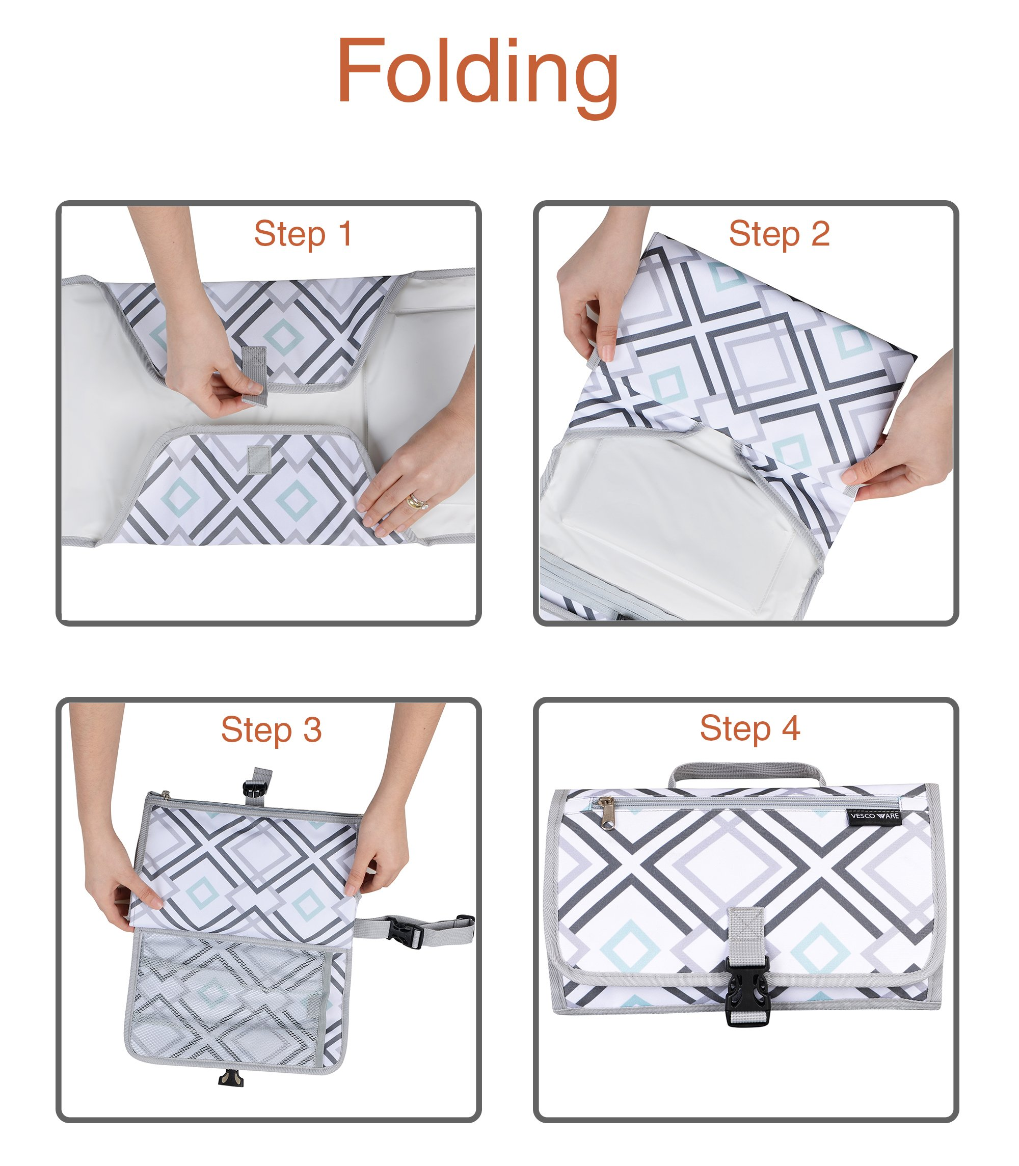 Portable Baby Changing Mat - Large Waterproof Diaper Changing Station - Padded Travel Pad with Head Cushion, 3 Pockets, Multi-Color by Vescoware (Image #6)