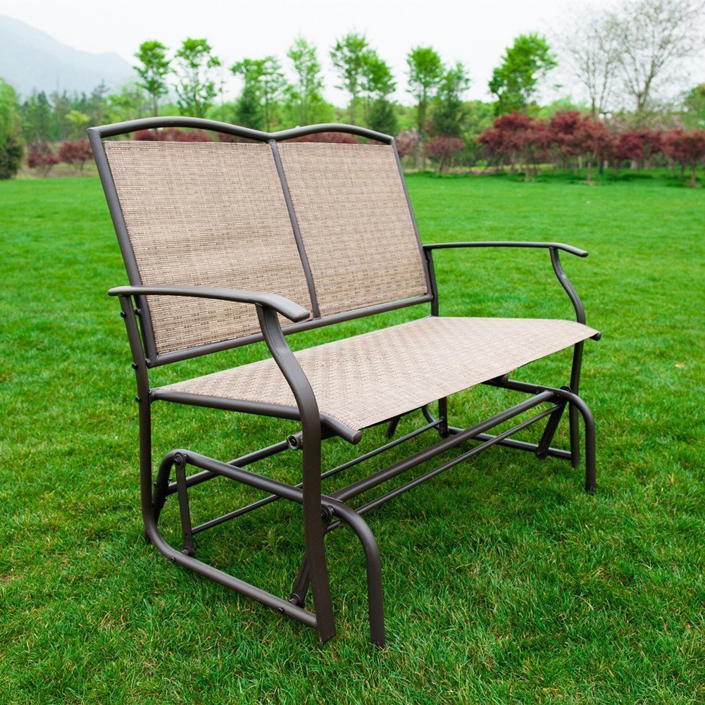 Patio swing glider bench chair garden glider rocking loveseat chair weatherproof ebay Garden loveseat