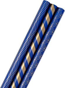 Hallmark All Occasion Wrapping Paper Bundle with Cut Lines on Reverse - Dark Blue and Gold Stripes (3-Pack: 105 sq. ft. ttl.) for Christmas, Hanukkah, Birthdays, Graduations, Father's Day, Weddings