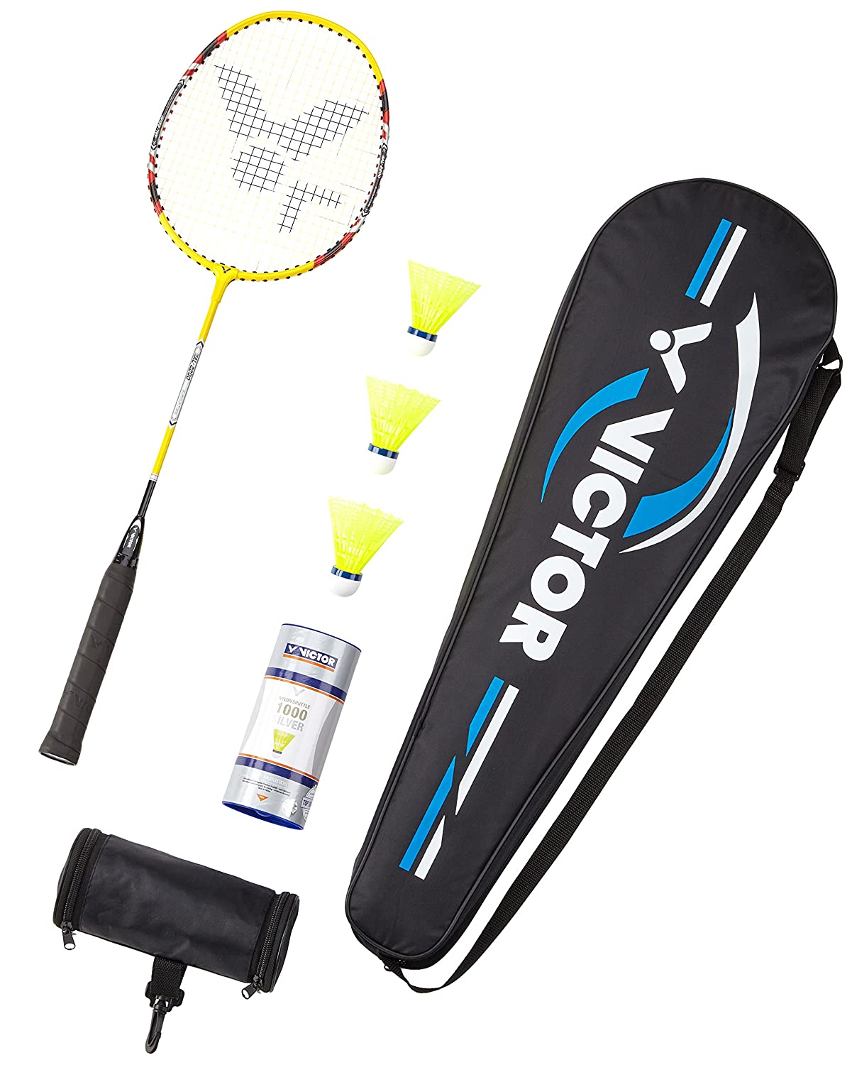 Victor AL 2200Badminton racket and shuttlecock in yellow single racket or as a set with racket/balls/carry bag 103/0/0