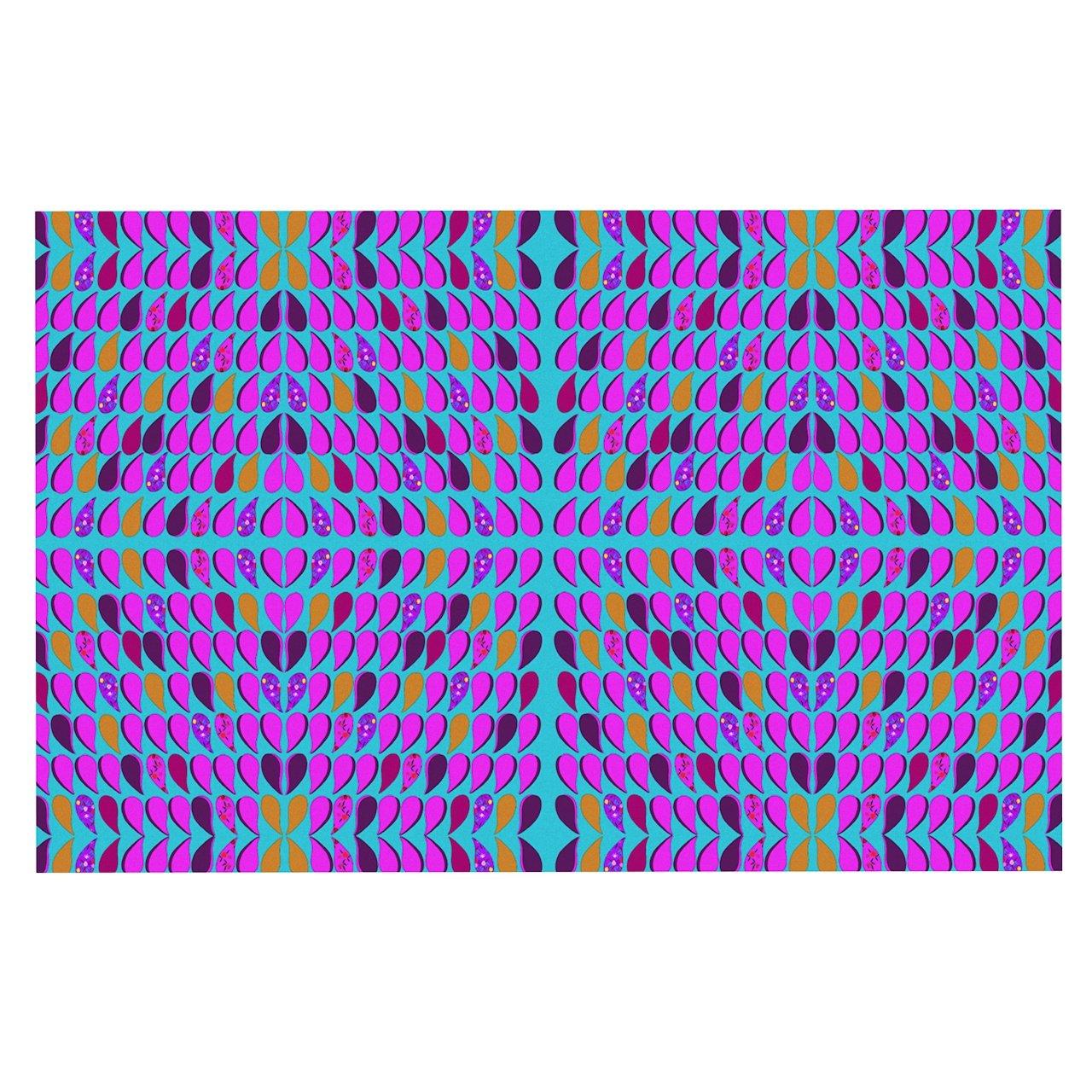 KESS InHouse FS1001ADM02 Fernanda Sternieri Optical Paisley Purple Pink Dog Place Mat, 24  x 15
