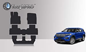 TOUGHPRO Floor Mat Accessories 1st + 2nd + 3rd Row Compatible with Ford Explorer - All Weather - Heavy Duty - Custom Fit - (Made in USA) - Black Rubber - 2020