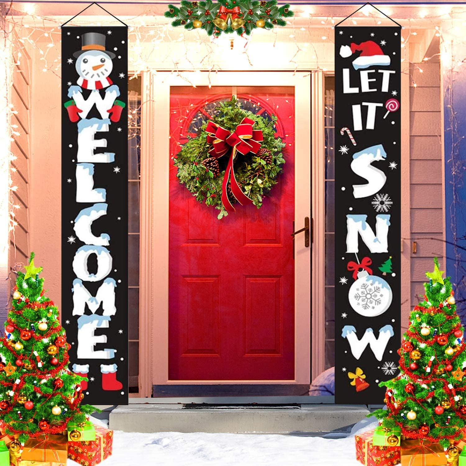 Christmas Decorations Outdoor - Xmas Porch Sign Banners- Welcome Let it Snow Holiday Decor for Front Door Indoor Yard Home Garage Wall Outside (Black)
