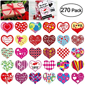 Amazon.com: Heart Roll Sticker Valentine\'s Day Gift Tag Stickers ...