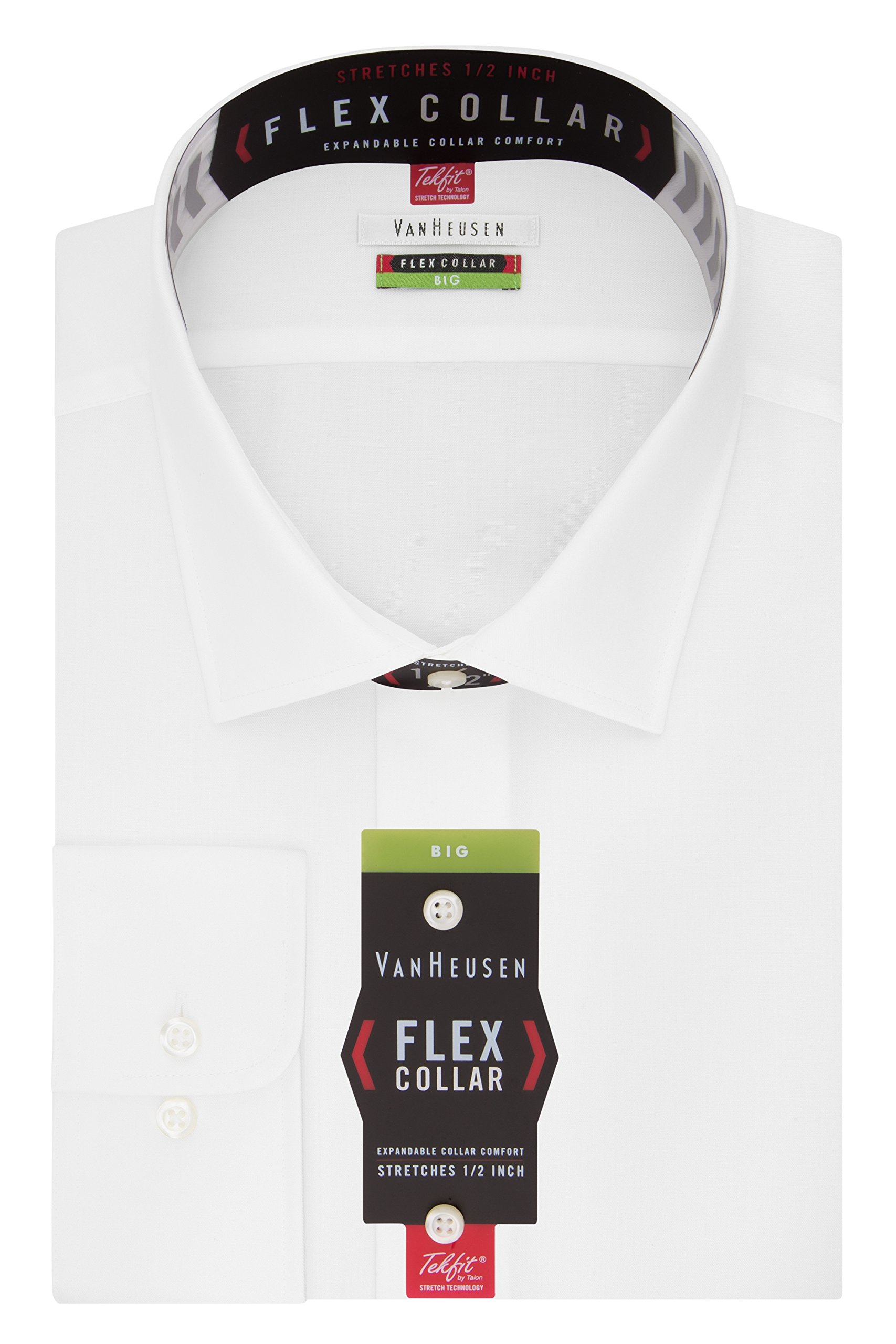 Van Heusen Men's Big and Tall Flex Fit Solid Spread Collar Dress Shirt, White, 20'' Neck 34''-35'' Sleeve