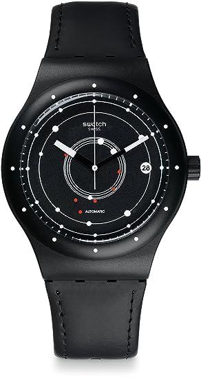 Swatch Reloj Digital para Hombre de Automático con Correa en Cuero SUTB400: Amazon.es: Relojes
