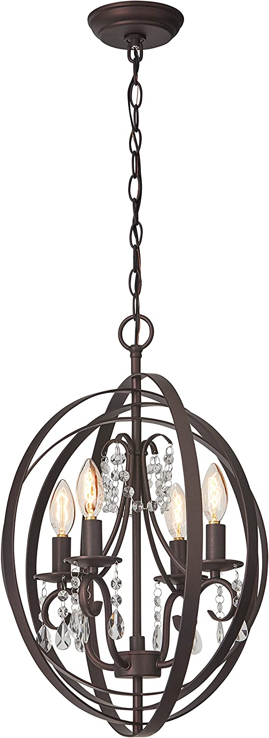 Brand Stone /& Beam French Country Orb Crystal Ceiling Chandelier With Light Bulbs Oil Rubbed Bronze 18 x 18 x 21 Inches