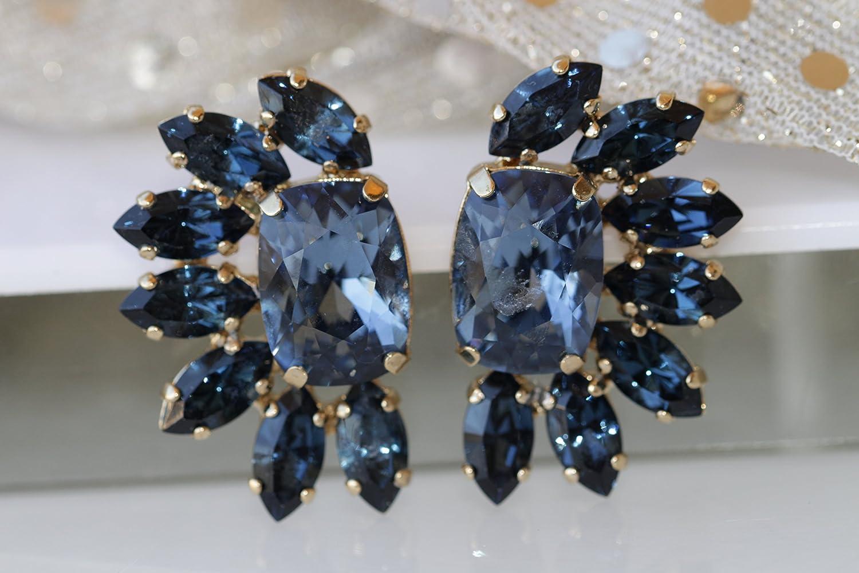 Amazon.com: Rebeka Jewelry BLUE NAVY EARRINGS, Dark Blue Earrings ...