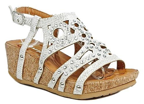 34fab9f73 Rene11 Kids Girls White Tribal Strappy Crystal Rhinestone Slingback Cork  Platform Wedge Sandal Shoes-10