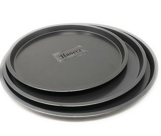 Haneez Non-Stick Pizza Pan - Set of 3, Black