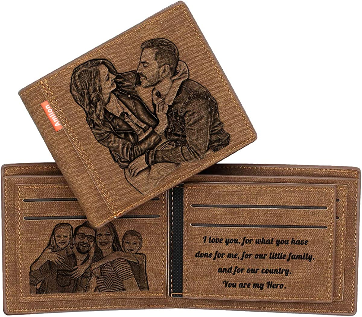 Custom Engraved Wallet,Personalized Photo RFID