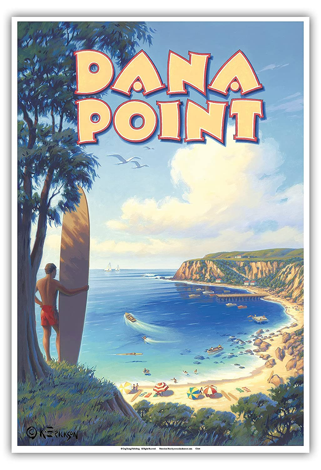 12 x 18in Inc. California Surfing Spot Pacifica Island Art Dana Point Vintage Style World Travel Poster by Kerne Erickson Master Art Print