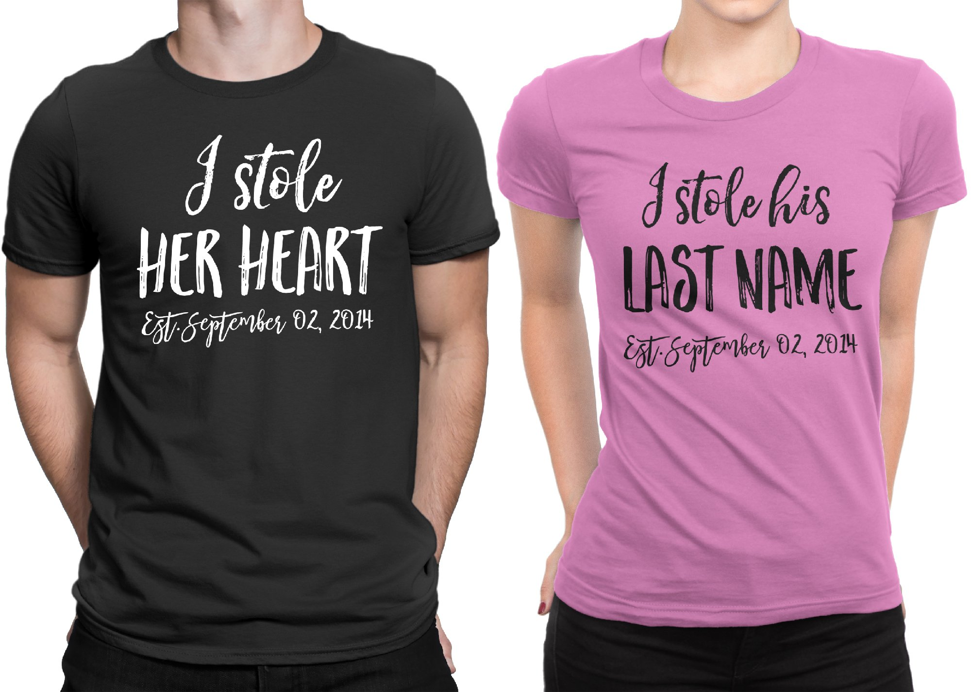 I Stole Her Heart - I stole His Lastname Couple Matching T-shirt Honeymoon Men X-Large / Women Large | Black - Pink