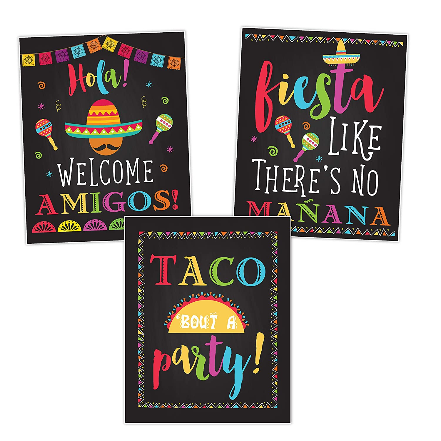 Fiesta Taco Party Decorations, Birthday Signs Posters, Taco Bout A Party, Welcome Amigos, Cinco De Mayo Set of 3