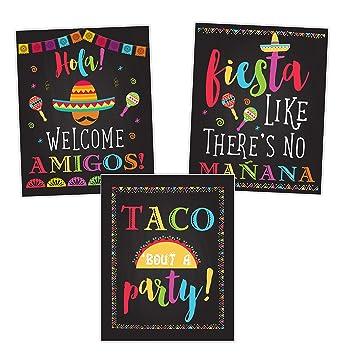 Amazon.com: Fiesta Taco Decoración de fiesta, carteles de ...