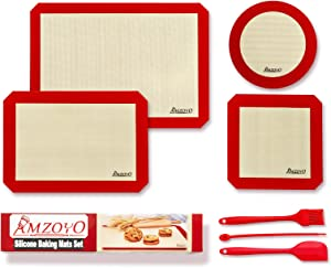 AMZOYO Silicone Baking Mats Set of 4, Including 1 Half Sheet Mats + 1 Quarter Sheet Liner + 1 Round & 1 Square Cake Pan Mat, 100% Non-stick Reusable Food Safe Liners for Baking Macaron Cookie Pizza