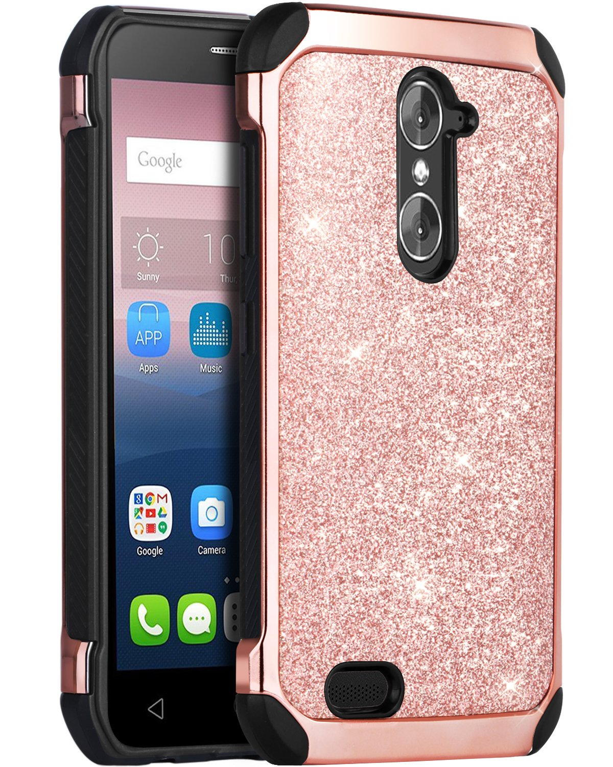 Hybrid Hard PC Faux Leather Chrome Shockproof Protective Case for ZTE Grand X Max 2
