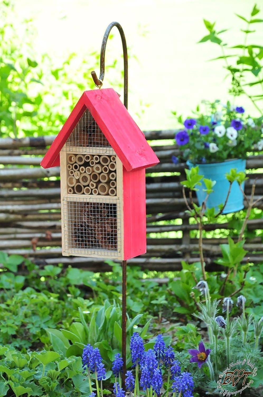 Große Insektenhotels HD-MMS rot lasiert Vogelhäuschen Nistkasten Insektenhotel aus Holz Insektenhäuschen - biologischer ökologischer natürlicher Pflanzenschutz - ökologische biologische natürliche Blattlausbekämpfung - Insektenhotel komplett mit Schäfersta