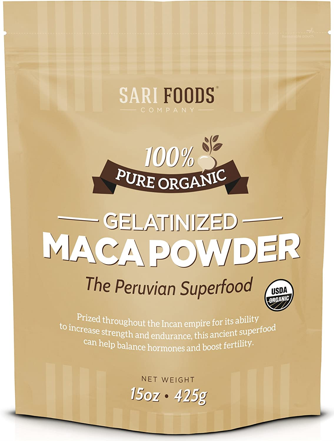 Organic Gelatinized Maca Powder (15 Ounce): Natural Plant Based, High Altitude Superfood, Vegan, Supports Energy and Vitality
